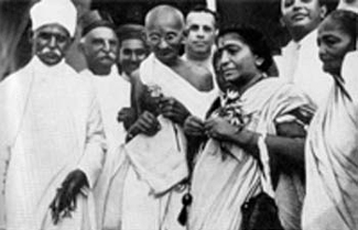Malaviya, Gandhi, Mrs. Naidu and Kasturbai